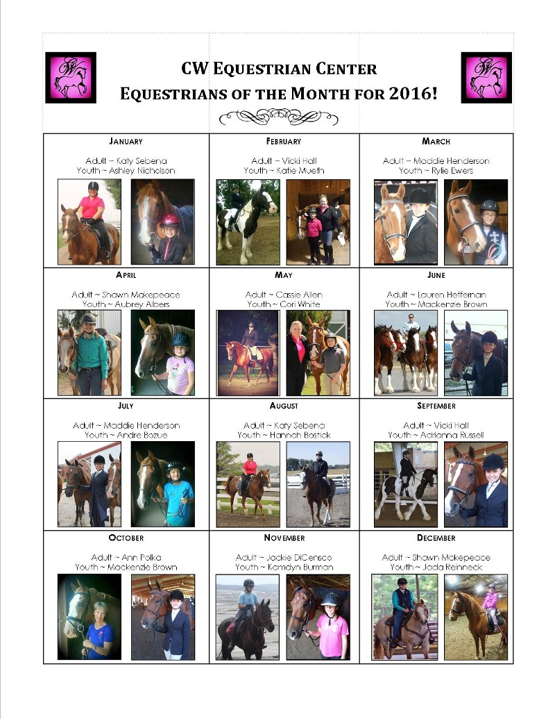 2016 Equestrians of The Month